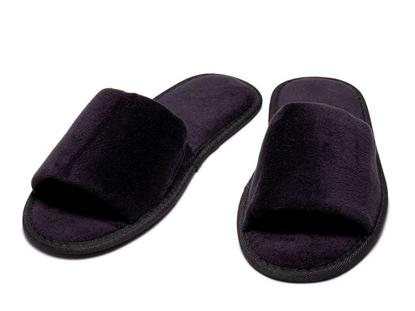 black mens womens velour slippers