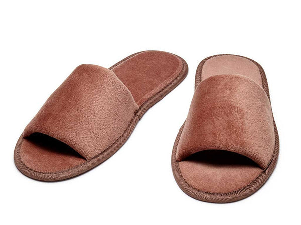 open toe mens womens velour slippers dark chocolate