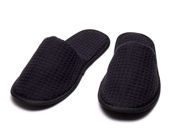 501d248ff7b9 Closed Toe Waffle Slippers  white cotton waffle mens womens slippers ...