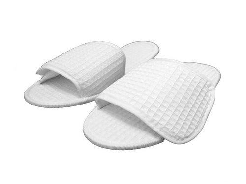white mens womens waffle slipper with fastener velcro