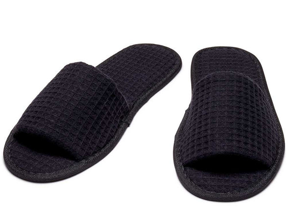 mens womens open toe slippers black