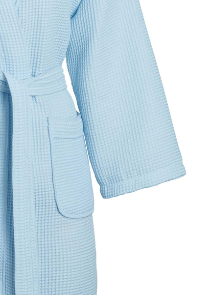 Sky blue square pattern waffle robe detail