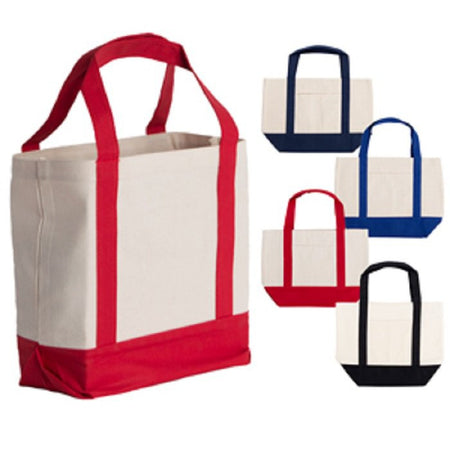 Cotton Tote With Colored Handles