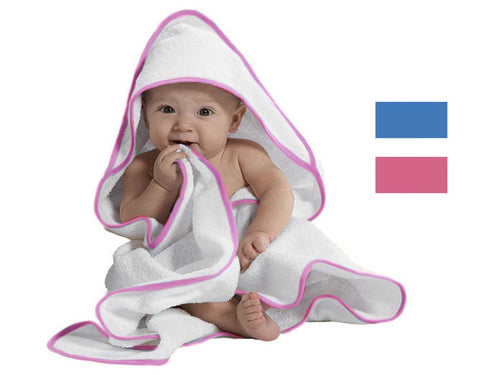 white and pink terry velour baby towel