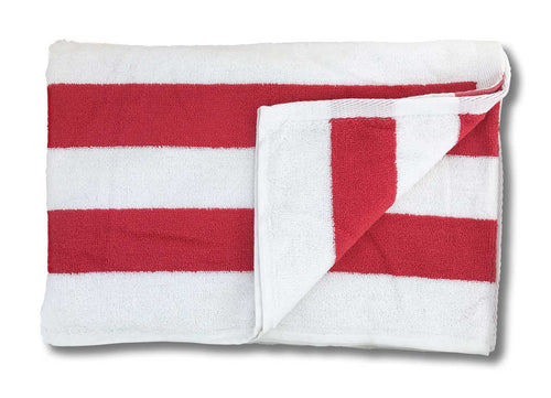 pool towel red white striped