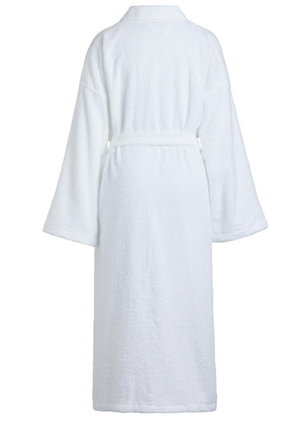 back white terry cloth bathrobe