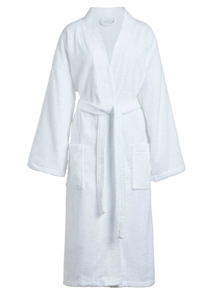 white terry cloth bathrobe