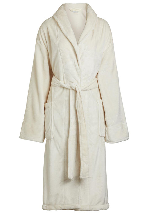womens fleece bathrobe in beige