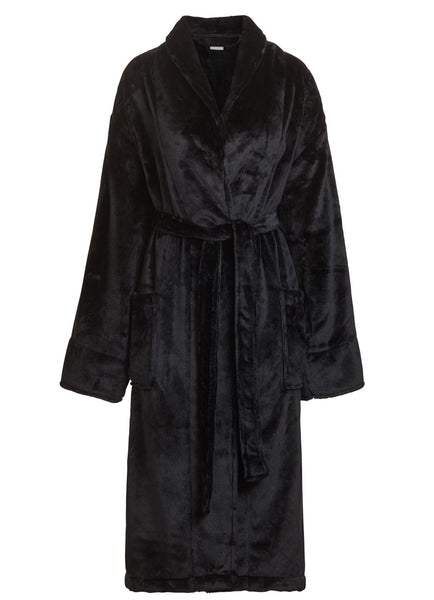 black microfleece mens womens robe