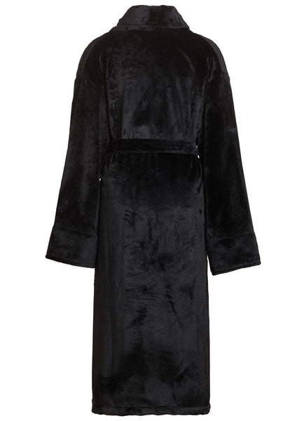 back view of black fleece robe