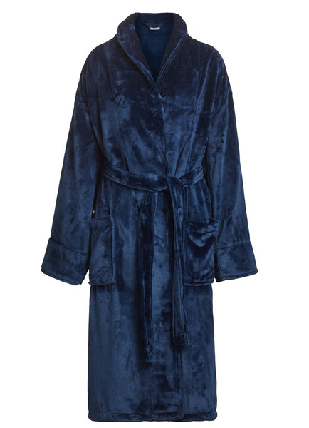 mens womens microfleece robe navy blue