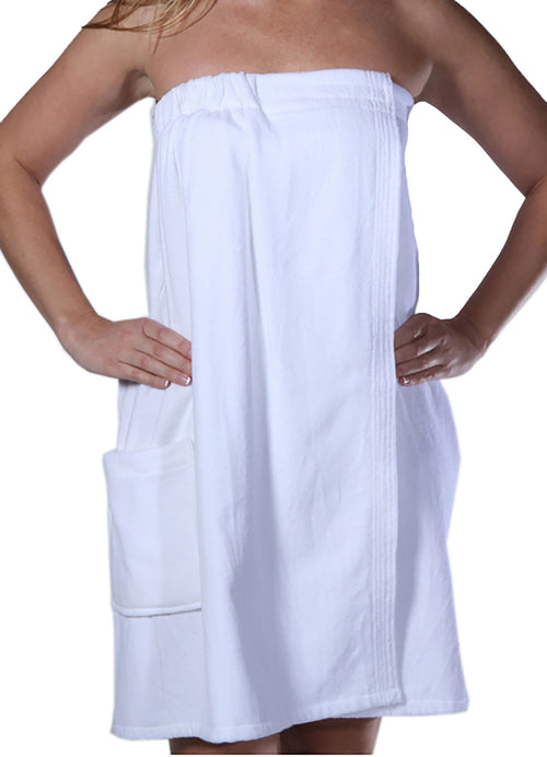 woman in white terry bathwrap towel front