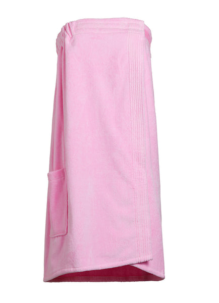 pink terry cloth and velour bathwrap towel with pocket