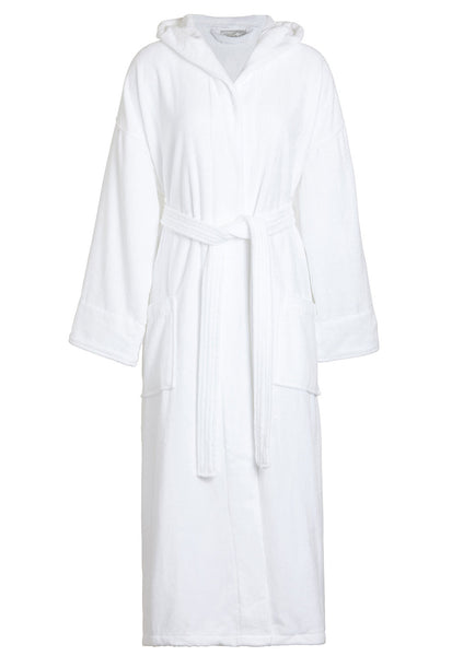velour terry hooded robe white