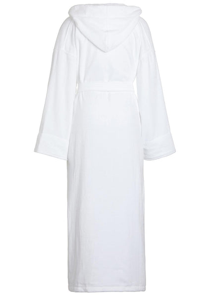back of white velour terry hooded robe