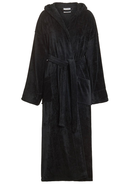 long hooded bathrobe black