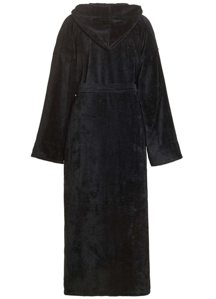 back of black velour terry hooded robe