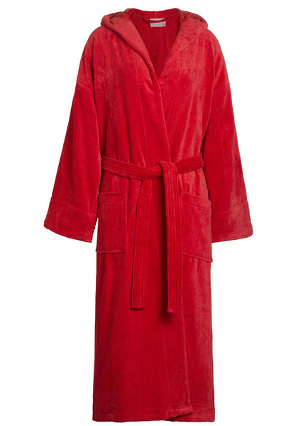 Velour bathrobe in red