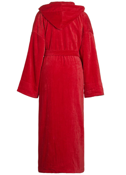 back of red terry velour hooded robe