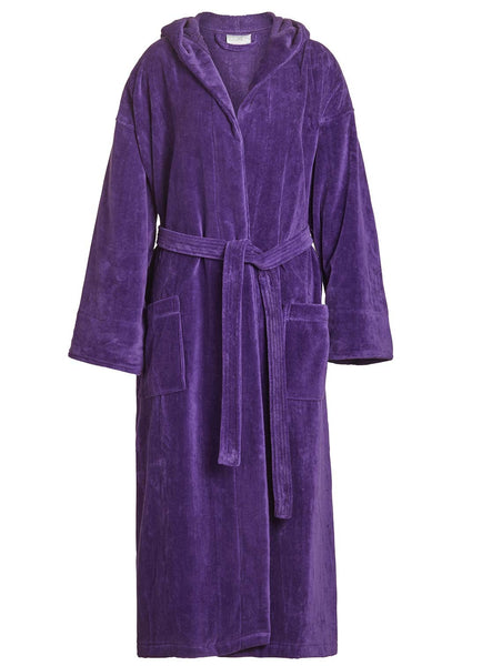 terry velour hooded robe in purple