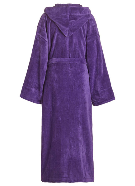 back of purple velour terry hooded robe