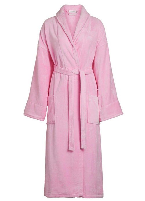 pink shawl collar velour robe