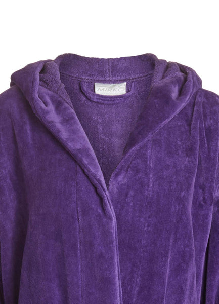 Detail Purple Hooded Terry Cloth Inside Velour Outside Robe