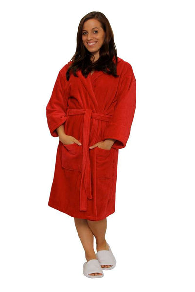 Velour bathrobe in red  womens velour bathrobe ... 1a293bdce2