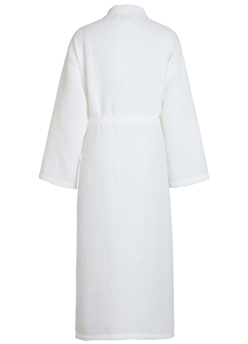 back view square pattern waffle robe white