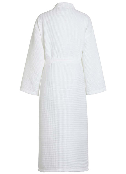 back view waffle robe white