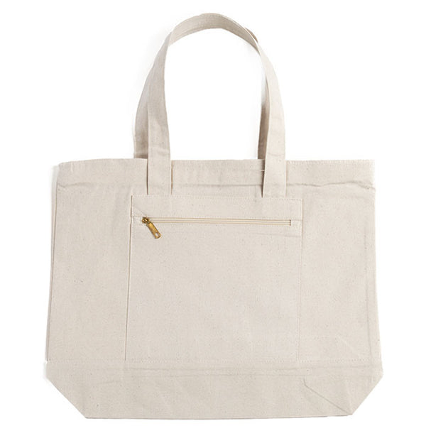Zippered Canvas Tote Bag With Zippered Front Pocket