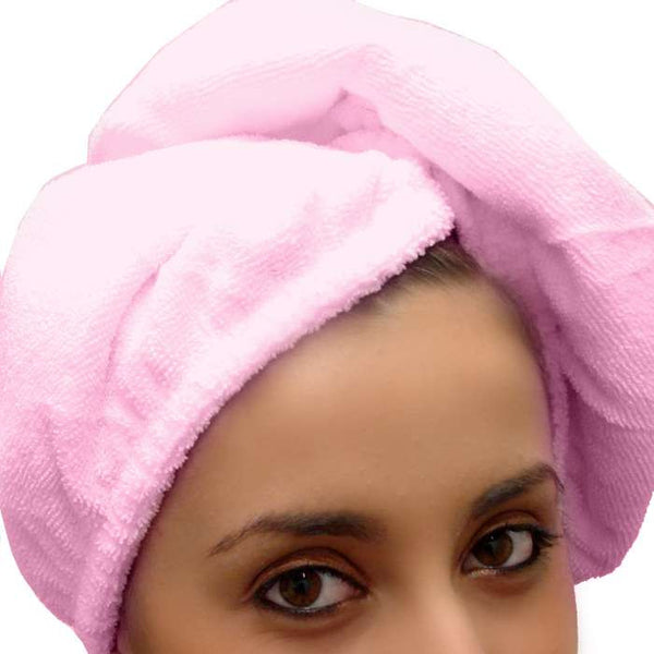 microfiber towel hair in pink