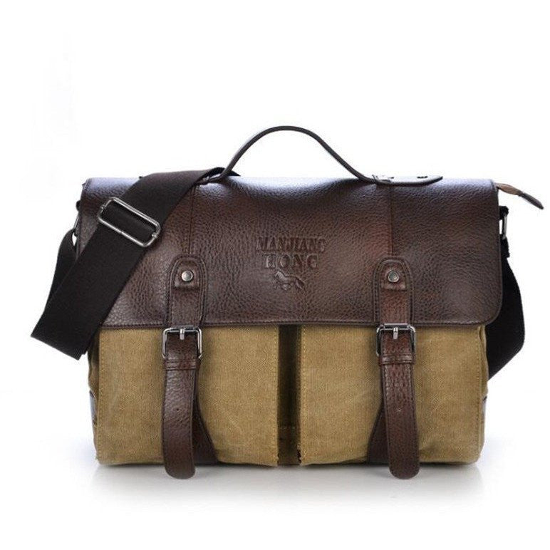 2016 Retro Men Briefcase Business Shoulder Bag Brown and Tan at Bagz Central for only $51.99