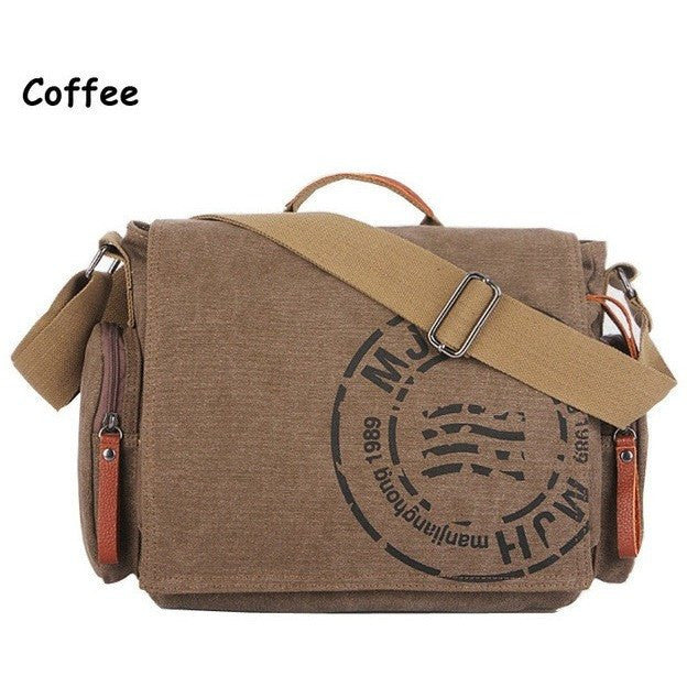 Coffee Vintage Canvas Shoulder Bag at Bagz Central for only $43.99