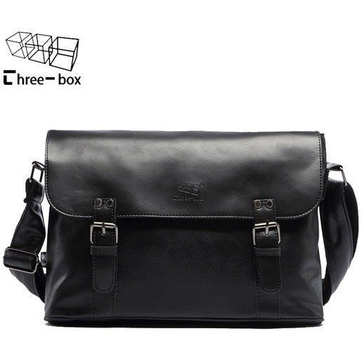 Three Box Mens Leather Office Bag at Bagz Central for only $79.99