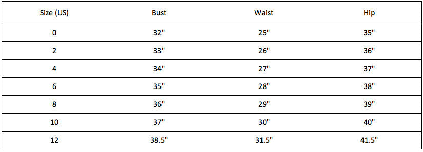 Apparel Size Measurements