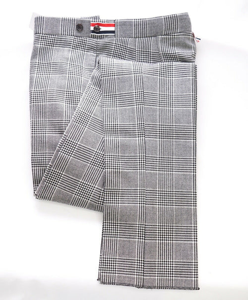 $3,200 THOM BROWNE - Gray Flannel Plaid Check Dress Pants Side Tabs- (SZ 1) 33W