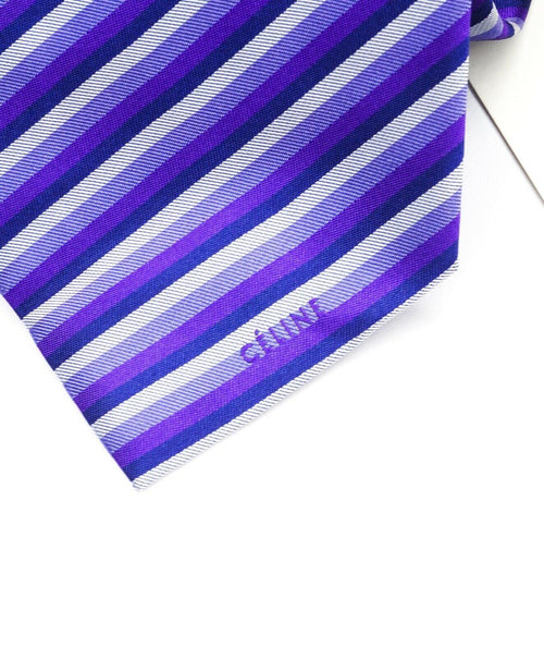 $195 CELINE - Modern Silk LOGO Tipped Light Blue/Purple/Navy Tie Necktie -
