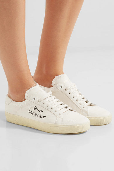 SAINT LAURENT - SL/06 Court Classic embroidered distressed sneakers - 40EU