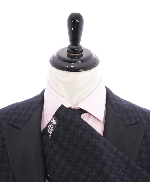 "ABLA - Wide Satin Peak Lapel Bold Houndstooth Blazer ""TOM FORD STYLE"" - 46R"