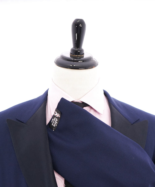 "ABLA - Wide Peak Lapel Royal Blue Oxford Weave Blazer ""TOM FORD STYLE"" - 48R"