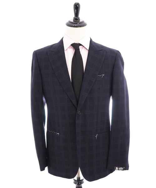 "ABLA - Wide Peak Lapel Tonal Plaid Check Blazer ""TOM FORD STYLE"" - 42R"