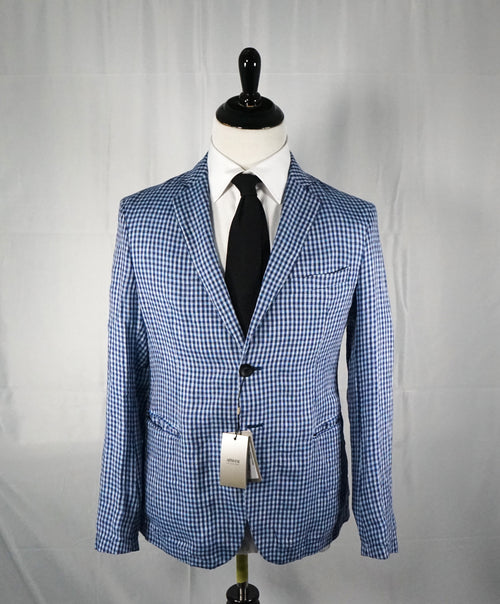 ARMANI COLLEZIONI - Blue & Navy Plaid Check Ultra Light Linen Blazer- 40R