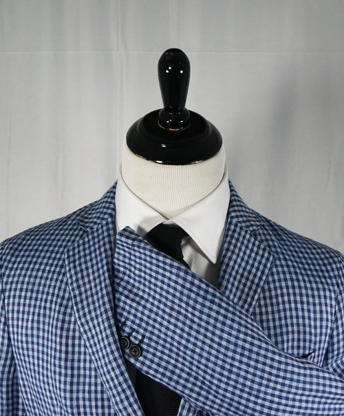 ARMANI COLLEZIONI - Blue & Navy Plaid Check Ultra Light Linen Blazer - 40R
