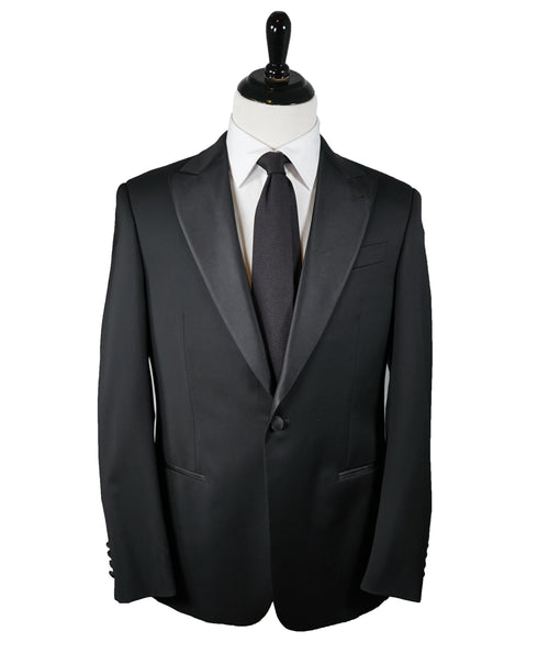 ARMANI COLLEZIONI - Black Peak Lapel 1-Button Satin Tuxedo -  38R