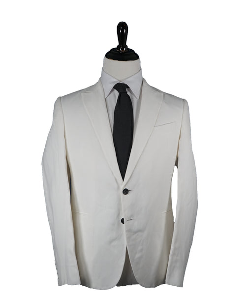 ARMANI COLLEZIONI - Peak Lapel Off White Linen Blend Summer Blazer - 40S
