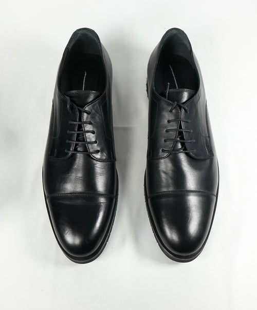 A. TESTONI - Cap Toe Derby Oxfords In Black With Ultra Light Sole - 12.5
