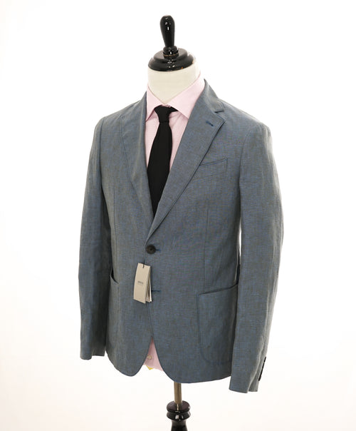 ARMANI COLLEZIONI - Medium Blue Melange Semi-Lined Linen Blazer - 36R