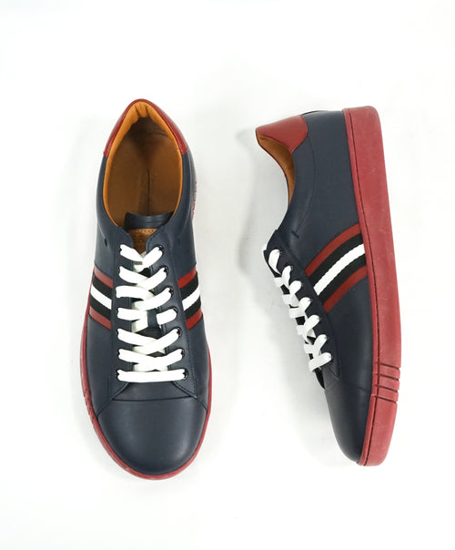 "BALLY - ""ASOR"" Low-Top Blue Leather Logo Sneakers w Red Sole - 10US"