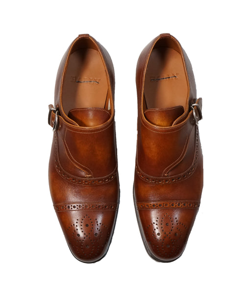 "BALLY - ""Lanor"" Cutaway Monk Strap Loafers Distressed Brown - 7"